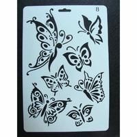 Pochoir 7 Papillons plastique 1 planche 26x17cm
