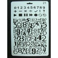 Pochoir Alphabet Chiffre Symboles Mathématiques plastique 1 planche 26x17cm