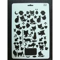 Pochoir Chat animaux et symboles divers plastique 1 planche 26x17cm