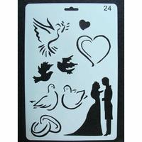 Pochoir Couple Oiseau Mariage Union Amour Coeur plastique 1 planche 26x17cm
