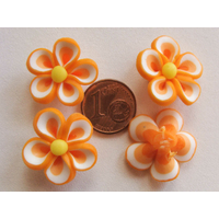 PERLES Fimo FLEUR 20-22mm ORANGE par 4 pcs