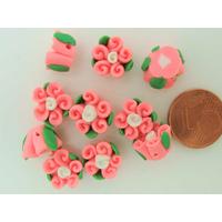 Perles Fimo FLEUR rose 3 Pétales 10mm par 5 pcs