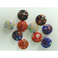 Cabochons verre MILLEFIORI 16mm Mix couleurs fleurs multicolores par 10 pcs
