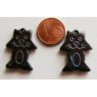 Pendentifs Pierre Hématite CHAT Animal 24mm par 2 pcs