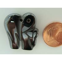 Pendentif Pierre Hématite ELEPHANT Animal 23mm par 1 pc