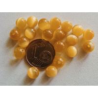 Perles verre Oeil de Chat rondes 6mm JAUNE FONCE par 20 pcs