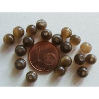 Perles verre Oeil de Chat rondes 6mm KAKI FONCE par 20 pcs