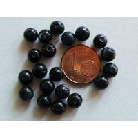 Perles verre Oeil de Chat rondes 6mm NOIR GRIS par 20 pcs