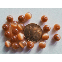 Perles verre Oeil de Chat rondes 6mm Marron par 20 pcs