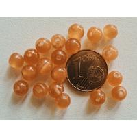 Perles verre Oeil de Chat rondes 6mm Marron Clair par 20 pcs