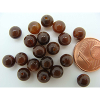 Perles verre Oeil de Chat rondes 6mm Marron Sombre par 20 pcs