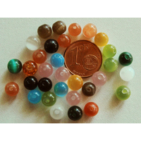 Perles verre Oeil de Chat rondes 6mm Mix par 20 pcs