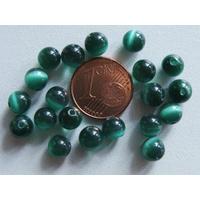 Perles verre Oeil de Chat rondes 6mm Vert Foncé par 20 pcs
