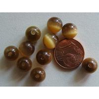 Perles verre Oeil de Chat rondes 8mm KAKI par 10 pcs