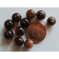 Perles verre Oeil de Chat rondes 8mm MARRON FONCE par 10 pcs