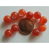 Perles verre Oeil de Chat rondes 8mm ORANGE FONCE par 10 pcs
