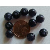 Perles verre Oeil de Chat rondes 8mm NOIR VIOLET par 10 pcs