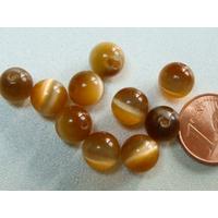 Perles verre Oeil de Chat rondes 8mm MARRON par 10 pcs