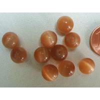 Perles verre Oeil de Chat rondes 8mm MARRON CLAIR par 10 pcs