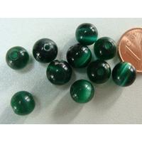 Perles verre Oeil de Chat rondes 8mm VERT FONCE par 10 pcs