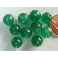 Perles verre Oeil de Chat rondes 8mm VERT MENTHE par 10 pcs