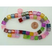 Perles verre Craquelé cubes 8mm MIX par 45 pcs