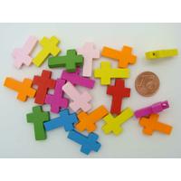Pendentifs BOIS CROIX CRUCIFIX 22mm mix couleurs par 20 pcs