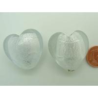 Perle Coeur 28mm Transparent verre façon Murano par 1 pc