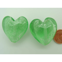 Perle Coeur 28mm Vert verre façon Murano par 1 pc