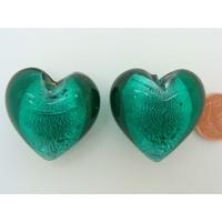 Perle Coeur 28mm Vert Foncé verre façon Murano par 1 pc