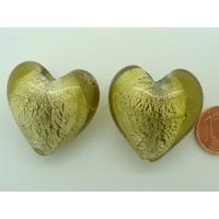 Perle Coeur 28mm Vert Kaki verre façon Murano par 1 pc