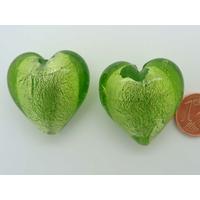 Perle Coeur 28mm Vert Olive verre façon Murano par 1 pc
