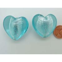 Perle Coeur 28mm Bleu verre façon Murano par 1 pc