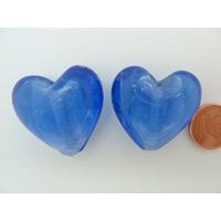 Perle Coeur 28mm Bleu Foncé verre façon Murano par 1 pc