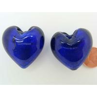 Perle Coeur 28mm Bleu Marine verre façon Murano par 1 pc