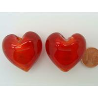 Perle Coeur 28mm Rouge verre façon Murano par 1 pc