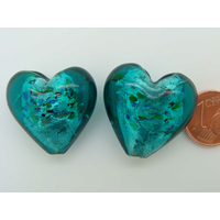 Perle Coeur 25mm Bleu Vert Multicolore verre façon Murano par 1 pc