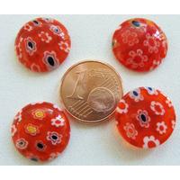 Cabochons verre MILLEFIORI 15mm fond Rouge fleurs par 4 pcs