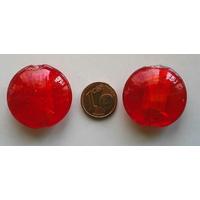 Perle galet 28mm Rouge verre façon Murano par 1 pc