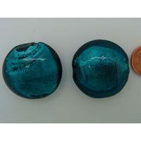 Perle galet 28mm Vert Bleu verre façon Murano par 1 pc