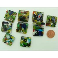 Perles verre très coloré CARRE 20mm MIX par 10 pcs