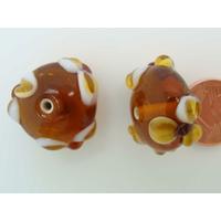Perle verre Lampwork Galet 21mm Marron motif Fleur par 1 pc