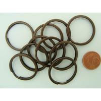 Anneaux brisés PORTE-CLE 25mm simple cuivre foncé par 10 pcs