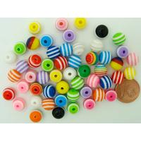 Perles acrylique ROND 8mm STRIP Rayures multicolores par 50 pcs
