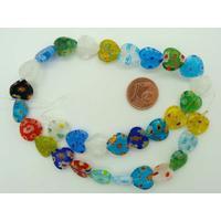 Perles verre millefiori Coeur 12mm MIX couleurs par 32 pcs