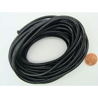 Fil polyester ciré Noir 3mm en écheveau de 5 mètres