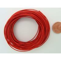 Fil polyester ciré Rouge 0,8mm en écheveau de 10 mètres