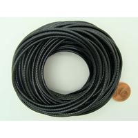 Fil polyester ciré Noir 2mm en écheveau de 10 mètres