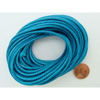 Fil polyester ciré Bleu Turquoise 2,3mm en écheveau de 5 mètres