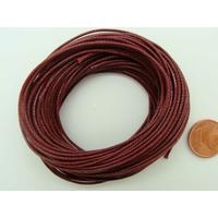 Fil polyester ciré Rouge Foncé 1mm en écheveau de 10 mètres